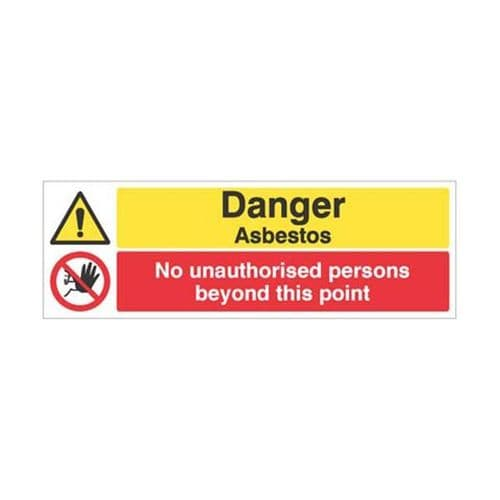 24500G Danger asbestos No unauthorised persons beyond this point sign - Self Adhesive (300x100mm)