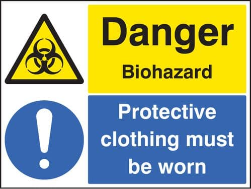 24525Q Danger biohazard protective clothing must be worn Sticker (600x450mm) Safety Sign
