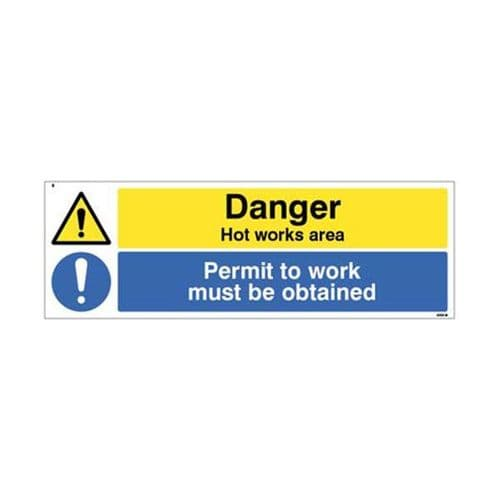 24560M Danger Hot works area Permit to work must be obtained sign - Self Adhesive Vinyl (600x200mm)