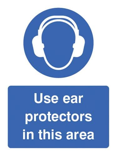 25010E Use ear protectors in this area Self Adhesive Vinyl (200x150mm) Safety Sign