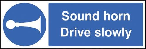 25413M Sound horn drive slowly Self Adhesive Vinyl (600x200mm) Safety Sign