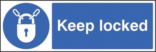 25414G Keep locked Self Adhesive Vinyl (300x100mm) Safety Sign