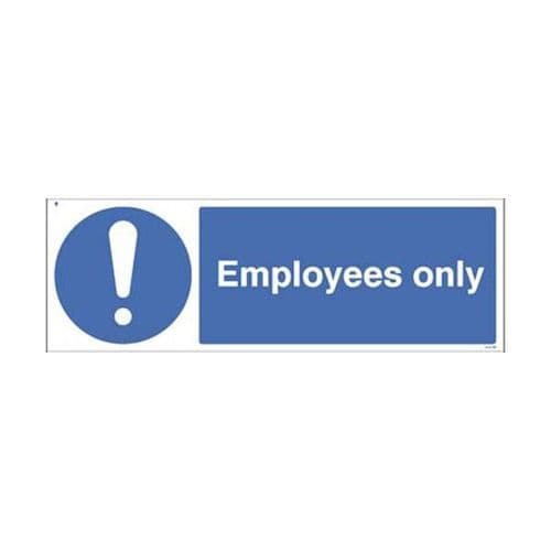 25469G Employees only sign - Self Adhesive Vinyl (300x100mm)