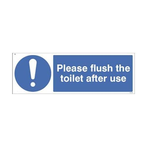 25487G Please flush the toilet after use sign - Self Adhesive Vinyl (300x100mm)