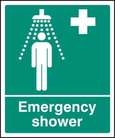 26001H Emergency shower Self Adhesive Vinyl (300x250mm) Safety Sign