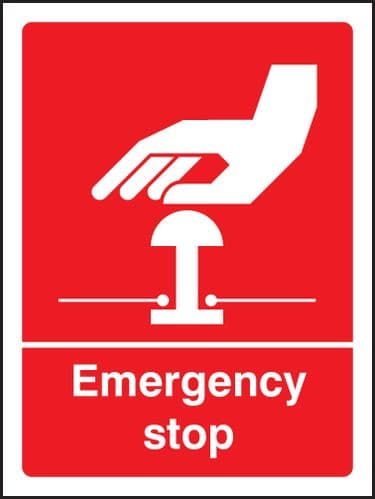 26005H Emergency stop (white/red) Self Adhesive Vinyl (300x250mm) Safety Sign