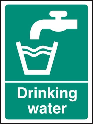 26007E Drinking water Self Adhesive Vinyl (200x150mm) Safety Sign
