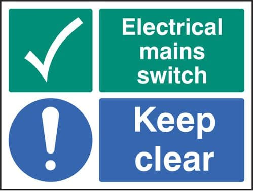 26034K Electrical mains switch keep clear Self Adhesive Vinyl (400x300mm) Safety Sign