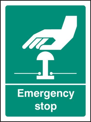 26055H Emergency stop (white/green) Self Adhesive Vinyl (300x250mm) Safety Sign