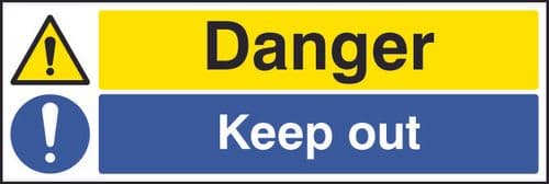 26216G Danger keep out Self Adhesive Vinyl (300x100mm) Safety Sign