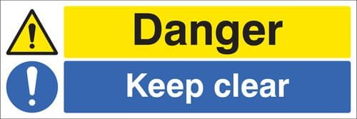 26218G Danger keep clear Self Adhesive Vinyl (300x100mm) Safety Sign