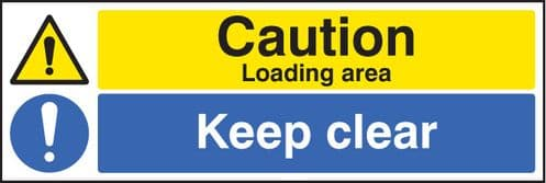 26222M Caution loading area keep clear Self Adhesive Vinyl (600x200mm) Safety Sign