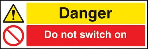 26277G Danger do not switch on Self Adhesive Vinyl (300x100mm) Safety Sign