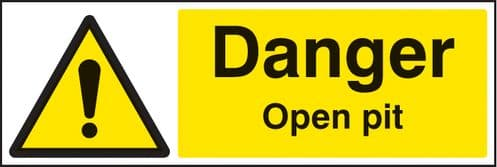 26503G Danger open pit Self Adhesive Vinyl (300x100mm) Safety Sign