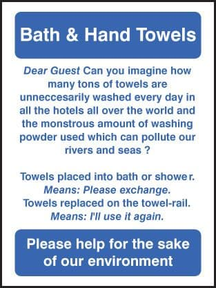 27626A Bath & hand towels Self Adhesive Vinyl (100x75mm) Safety Sign