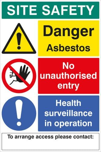 58049 Site safety board asbestos 600x900mm c/w contact details 1mm PVC  (600x900mm) Safety Sign