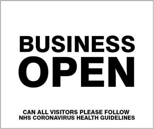 Business open Please follow NHS guidelines (300x250mm) [Rigid PVC]