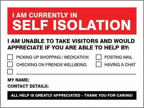 I am currently in self-isolation - are you able to help? (Pack of 5: 200x150mm SAV labels)