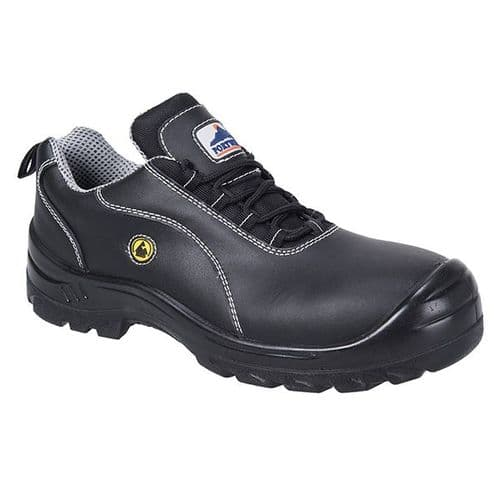Portwest FC02 Black Compositelite ESD Leather Safety Shoe S1