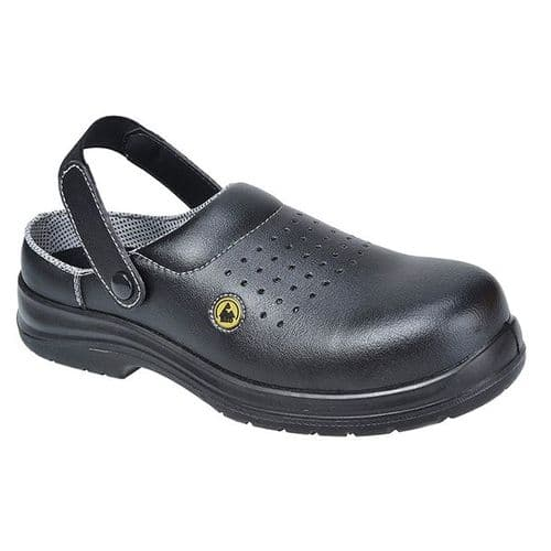 Portwest FC03B Black Compositelite ESD Perforated Safety Clog SB AE