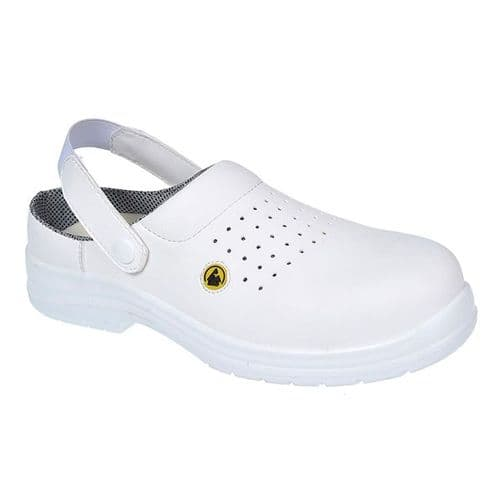 Portwest FC03W White Compositelite ESD Perforated Safety Clog SB AE