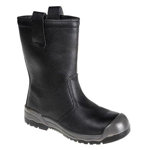 Portwest FW13BK Black Steelite Rigger Boot S1P CI (With scuff cap)