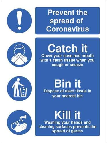Prevent the spread of coronavirus Catch it cover your nose and... (Pack of 5: 200x150mm SAV labels)