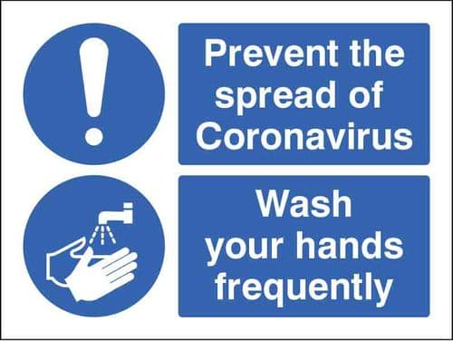 Prevent the spread of coronavirus Wash your hands frequently (Pack of 5: 200x150mm SAV labels)
