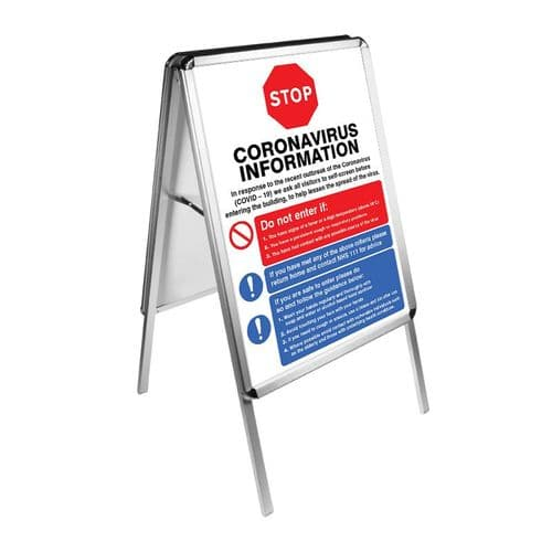 Snap frame A-board double sided with 2x posters (680x940x465mm) for 420x594mm posters