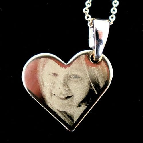 Gold Plated Titanium Engraved Hanging Heart Photo Pendant