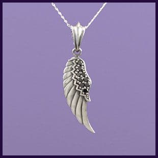 Angel Wing Left with Black Cubic Zirconia (1)