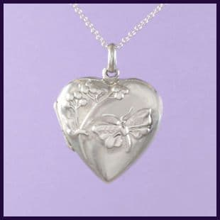Heart Locket with Embossed Butterfly