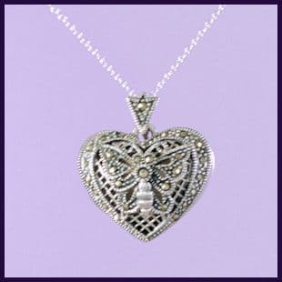 Heart Locket with Marcasite
