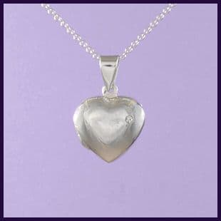Heart Locket with Single Cubic Zirconia