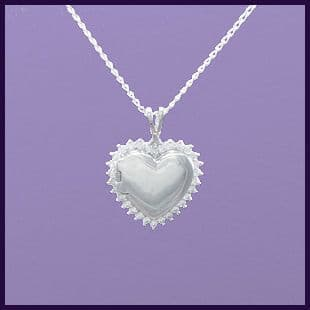 Heart Locket with Surrounding Cubic Zirconia