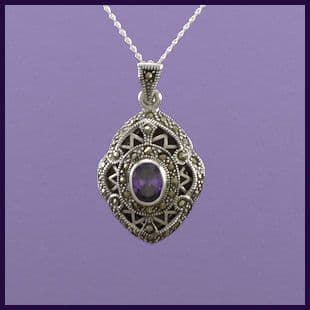 Locket with Marcasite and  Purple Cubic Zirconia
