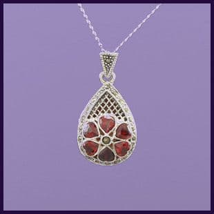 Tear Drop Locket with Marcasite and Ruby Red CZ