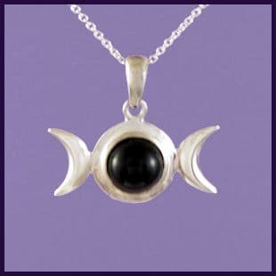 Triple Moon with Black Onyx Cabachon