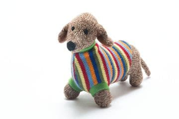 Best Years - Knitted Sausage Dog with Striped Jumper