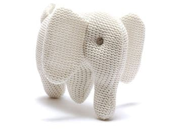 Best Years - Organic Cotton Knitted White Elephant Rattle