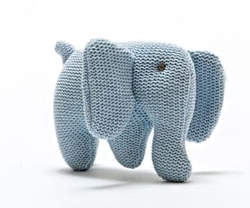 Best Years - Organic Cotton Pale Blue Knitted Elephant Rattle