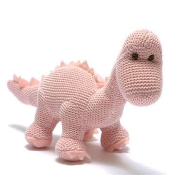 Best Years - Organic Cotton Pink Knitted Diplodocus Rattle