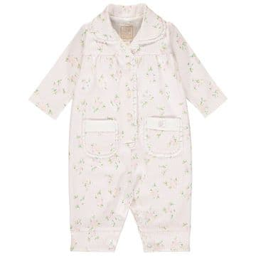 Emile et Rose - Grace  Pale Pink Interlock PJs with Floral Stripe and Lace Trim
