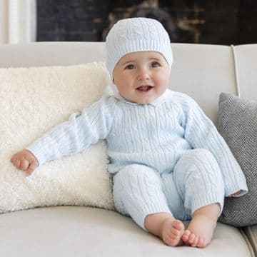 Emile et Rose - Pale Blue Knitted All in One with Collar & Hat