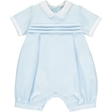 Emile et Rose - Pale Blue Romper with Pleated Yoke & Collar