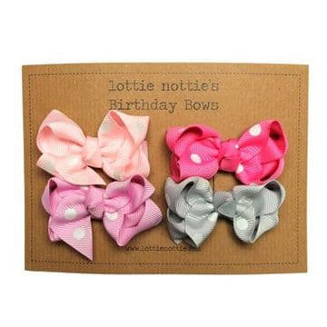 Lottie Nottie - Birthday Bow Collection - Pink Polka