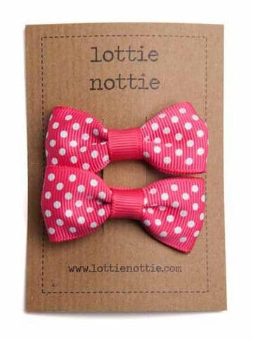 Lottie Nottie - Bright Pink Swiss Dot Bows
