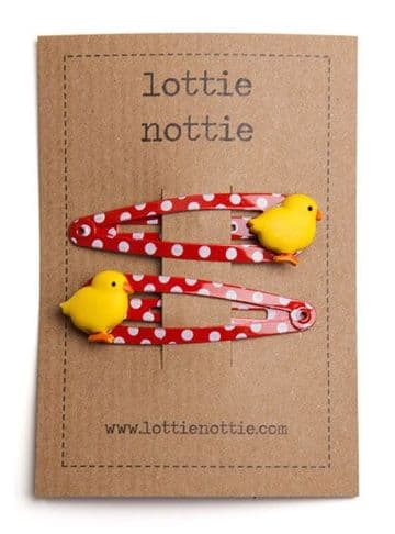 Lottie Nottie - Easter Chicks on Red Spotty Clips