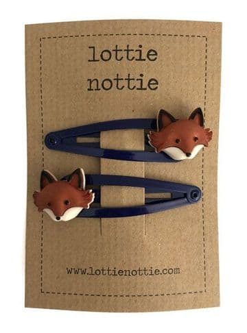 Lottie Nottie - Fox on Blue Hair Clips