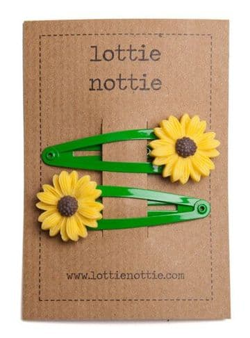 Lottie Nottie - Green Sunflower Hair Clips